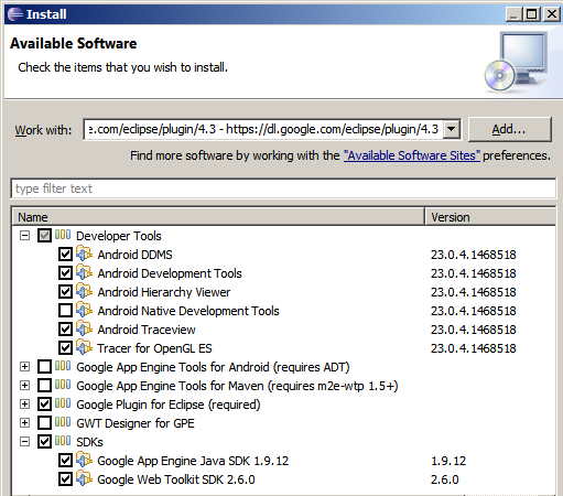 Installing the Android SDK and ADT plugin for Eclipse