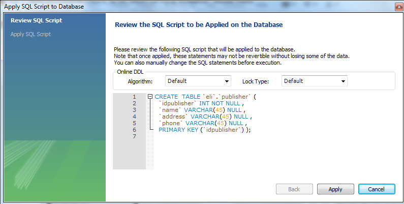 Tables create alter drop table with mysql workbench - Sql server alter table modify column ...