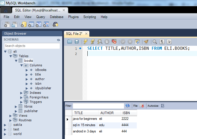 Statement SELECT FROM WHERE, ORDER BY with Mysql Workbench