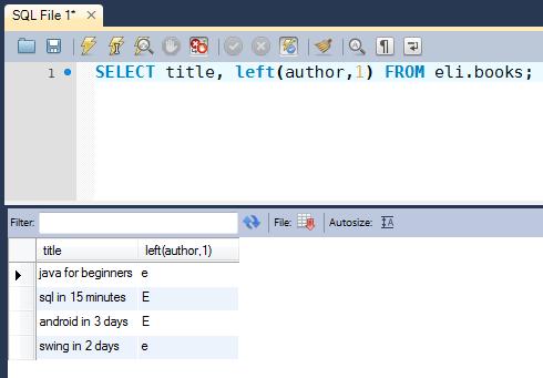 SQL 9  Funciones: left, substring, concat, upper, lower con